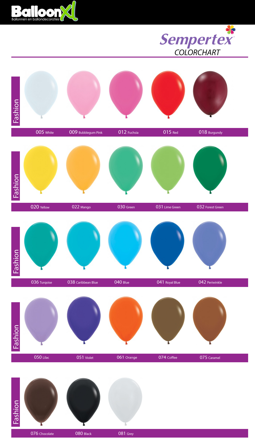 BalloonXL.nl Fashion Solids